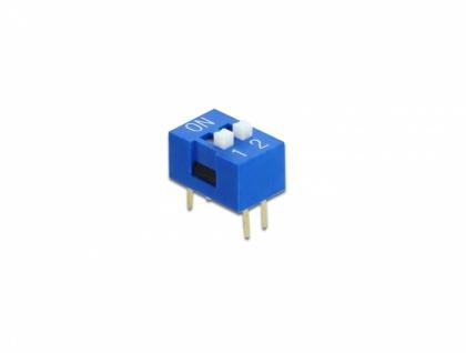 DIP-Schiebeschalter 2-stellig 2, 54 mm Rastermaß THT vertikal blau 2 Stück, Delock® [66089]