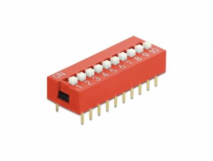 DIP-Schiebeschalter 10-stellig 2, 54 mm Rastermaß THT vertikal rot 5 Stück, Delock® [66070]