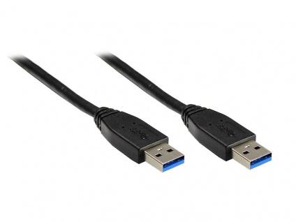 kabelmeister® Anschlusskabel USB 3.0 Stecker A an Stecker A, schwarz, 1m