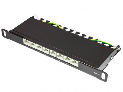 Patch Panel 10' Cat. 6A, geschirmt, STP, 0, 5 HE, 8-Port, tiefschwarz RAL9005, Good Connections®