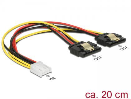 Kabel Power Floppy 4 Pin Buchse an 2x SATA 15 Pin Buchse, Metall, 0, 2m, Delock® [85248]