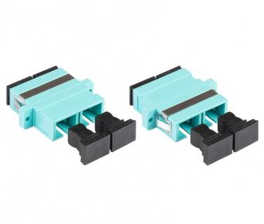 kabelmeister® LWL Duplex Kupplung, SC (UPC) an SC (UPC), OM3, Multimode, Kunststoffgehäuse mit Flansch, Keramikhülse, aqua