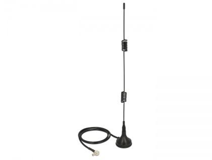 LTE Antenne TS-9 Stecker 2 - 3 dBi omnidirektional magnetischer Standfuß starr schwarz, Delock® [12480]
