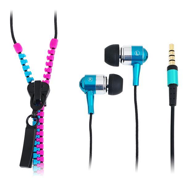 'Zipper' Stereo In-Ear Kopfhörer mit Mikrofon und Fernbedienung, Pink-Blau LogiLink® [HS0024]