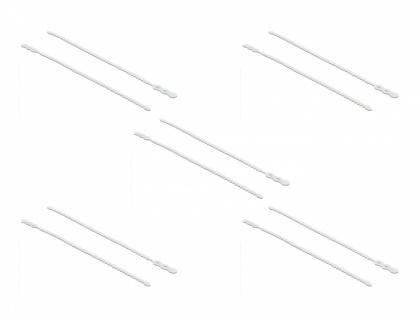 Blitzbinder wiederverwendbar L 210 x B 4, 5 mm weiß 10 Stück, Delock® [18962]
