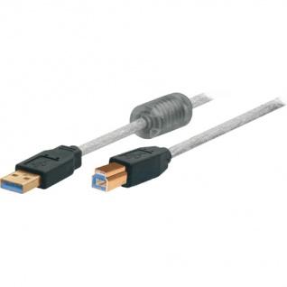 kabelmeister® Anschlusskabel USB 3.0 High Quality mit Ferritkern und Goldkontakten, transparent, 1m