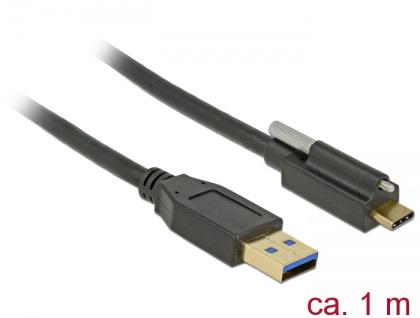 Kabel SuperSpeed USB 10 Gbps (USB 3.1 Gen. 2) Typ-A Stecker an USB Type-C™ Stecker mit Schraube oben, schwarz, 1 m, Delock® [83717]