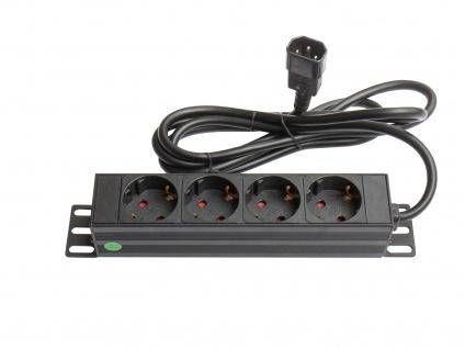 10' Steckdosenleiste, 1HE, Kaltgeräte-Stecker C14 an 4x Schutzkontakt-Buchse, Kinderschutz, Aluminiumprofil, schwarz, Good Connections®