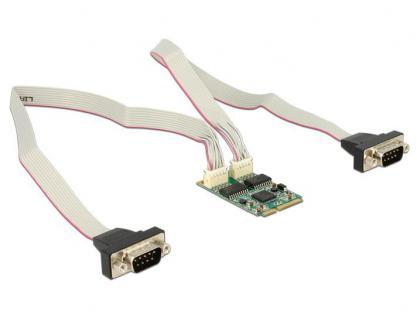 MiniPCI Express I/O PCIe full size RS-232 2x DB9 Stecker, 460 Kb/s mit 2, 5 kV Isolation, Delock® [95247]