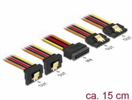 Kabel SATA 15 Pin Strom Stecker mit Einrastfunktion an SATA 15 Pin Strom Buchse 2 x gerade / 2 x unten 0, 15 m, Delock® [60150]