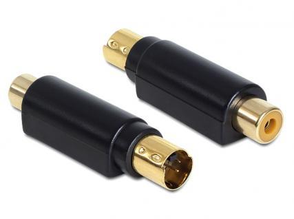 Adapter S-Video mini DIN Stecker 4 polig an 1 x Cinch Buchse, Delock® [65491]