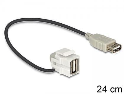 Keystone Modul USB 2.0 A Buchse an USB 2.0 A Buchse 110____deg; mit Kabel, Delock® [86327]