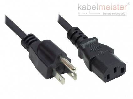 kabelmeister® Netzkabel Amerika/USA Netz-Stecker Typ B (NEMA 5-15P) an C13 (gerade), UL, schwarz, AWG18, 3 m
