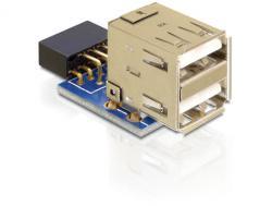 USB Pinheader Buchse an 2 x USB 2.0 Buchse - oben, Delock® [41825]