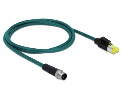 Netzwerkkabel M12 4 Pin D-kodiert an RJ45 Hirose Stecker TPU, wasserblau, 2 m, Delock® [85442]