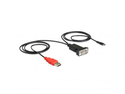 Adapter Micro USB an Seriell RS-232 für Android Geräte, schwarz, Delock® [62533]