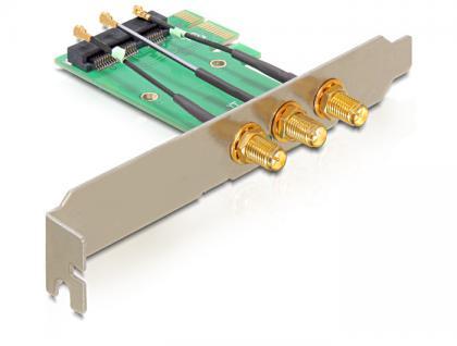 PCIe Karte zu Mini PCIe 3x RP-SMA Antennenanschluss, Delock® [89294]