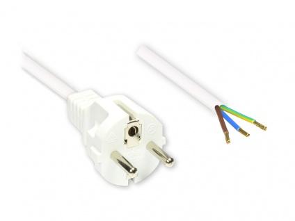 Netzkabel Schutzkontakt-Stecker gerade mit abisolierten Enden, weiss, 1, 5m, Good Connections®