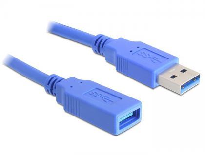 Verlängerungskabel USB 3.0 Typ-A Stecker an USB 3.0 Typ-A Buchse 1 m blau, Delock® [82538]