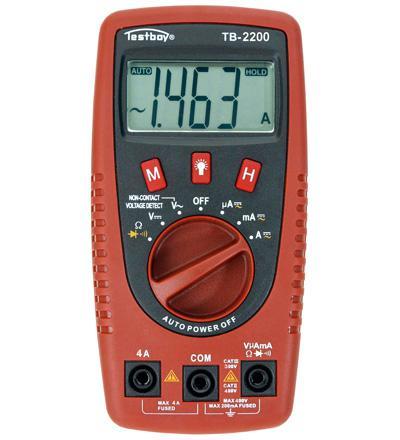 Digital Multimeter mit Spannungssensor und LED-Lampe, Testboy®