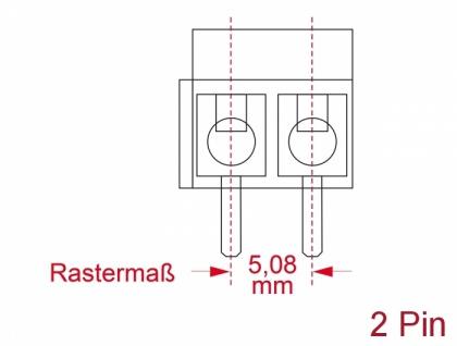 Terminalblock für, Platine, Lötversion, 2-Pin, 5, 08mm, Rastermaß vertikal, 10 Stück, Delock® [66013]
