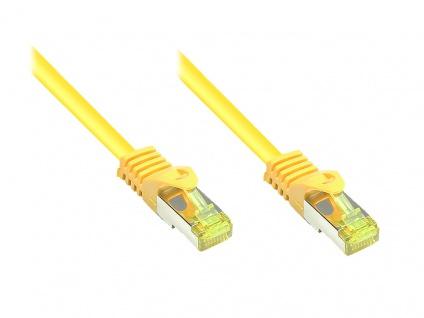kabelmeister® RJ45 Patchkabel mit Cat. 7 Rohkabel und Rastnasenschutz (RNS®), S/FTP, PiMF, halogenfrei, 500MHz, OFC, gelb, 0, 5m