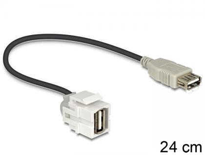 Keystone Modul USB 2.0 A Buchse an USB 2.0 A Buchse 250____deg; mit Kabel, Delock® [86329]