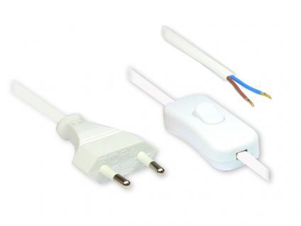 kabelmeister® Euro-Netzkabel mit Schalter und abisolierten Enden, 1, 5m, weiß