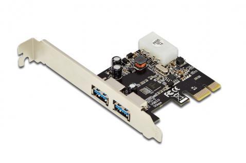USB 3.0, 2-Port, PCI Express Add-On Karte, 2 Ports A/F; 1x LP-Halterung, NEC UPD720202 Chipsatz Digitus® [DS-30220-4]