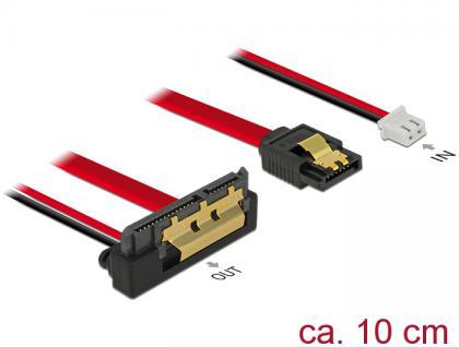 Kabel SATA 6 Gb/s 7 Pin Buchse + 2 Pin Strom Buchse an SATA 22 Pin Buchse unten gewinkelt (5V), Metall 0, 1m, Delock® [85239]