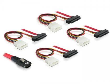 Anschlusskabel, mini SAS 36pin zu 4x SAS 29pin (SFF 8087 > 4x SFF 8482 + Power), 1m, Delock® [83146]