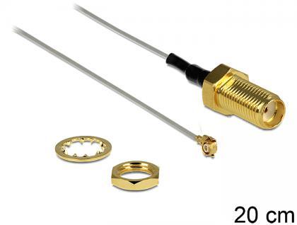 Antennenkabel SMA Buchse zum Einbau an MHF II /U.FL-LP(V)-040 kompatibler Stecker 200 mm 0.81 Gewindelänge 10 mm, Delock® [88811]