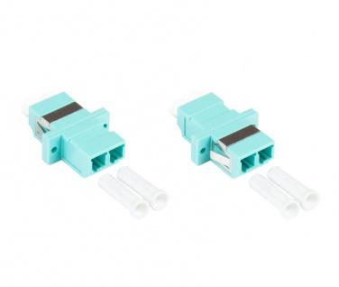 kabelmeister® LWL Duplex Kupplung, LC (UPC) an LC (UPC), OM3, Multimode, Kunststoffgehäuse mit Flansch, Keramikhülse, aqua