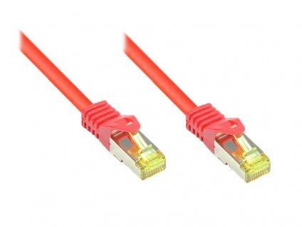 RJ45 Patchkabel mit Cat. 7 Rohkabel und Rastnasenschutz (RNS®), S/FTP, PiMF, halogenfrei, 500MHz, OFC, rot, 0, 5m, Good Connections®