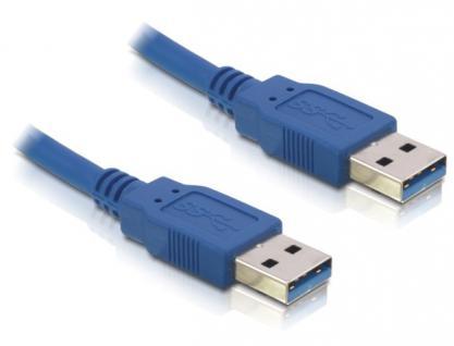Anschlusskabel USB 3.0 Stecker A an Stecker A, 2m, blau, Delock® [82435]