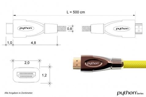 Anschlusskabel HDMI® 2.0 Kabel 4K2K / UHD 60Hz, 24K vergoldete Kontakte, OFC, Nylongeflecht gelb, 5m, PYTHON® Series