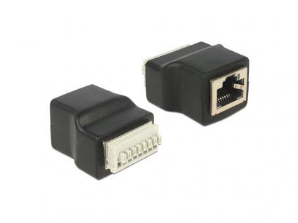 Adapter RJ45 Buchse an Terminalblock mit Drucktasten 8 Pin, Delock® [65527]