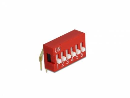 DIP-Schiebeschalter 6-stellig 2, 54 mm Rastermaß THT gewinkelt rot 10 Stück, Delock® [66157]