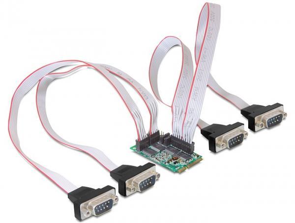 Schnittstellenkarte MiniPCIe I/O PCIe full size 4 x Seriell RS-232 mit Power Management, Delock® [95001]