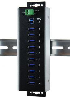USB 3.0 HUB 10-Port, 10x Buchse A, Upstream Buchse B, 15KV ESD Surge Protection, -40____deg; C bis +85____deg; C, inkl. Din-Rail Kit, Exsys® [EX-1110HMVS-WT]
