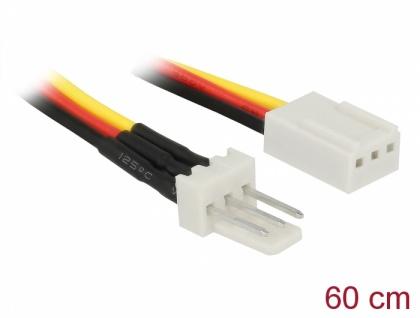 Lüfter Stromkabel 3-Pin Stecker an 3-Pin Buchse, 0, 6m, Delock® [85752]