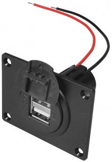 Power USB Doppelsteckdose, mit Montageplatte und Deckel, ProCar®