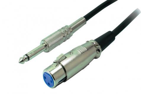 kabelmeister® XLR Verbindung, Metallklinkenstecker 6, 3mm Mono auf XLR-Kupplung, 6m