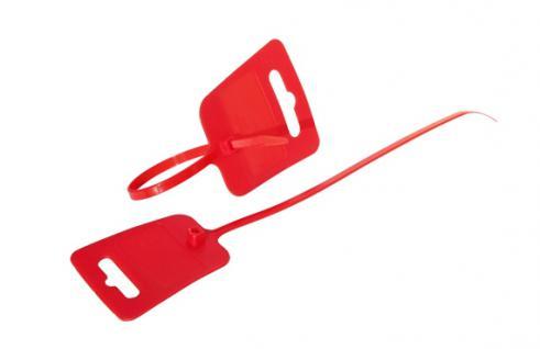 kabelmeister® Kabelbinder, Euroloch und Beschriftungsfeld, RAL 3020, VE 100 Stück, rot, 4, 8 x 250mm