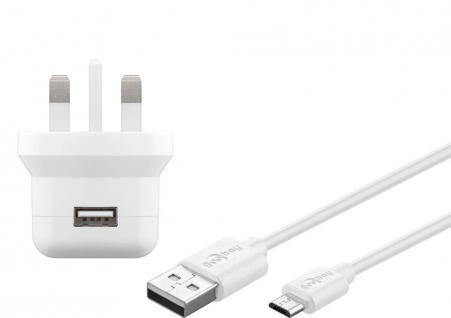 UK USB-Ladegerät, 1 Port, 2, 1A, inkl. Anschlusskabel USB Micro B an USB A Stecker, weiß , 1m