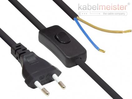 kabelmeister® Euro-Netzkabel Euro-Stecker Typ C (gerade) an abisolierte Enden, mit Schalter, schwarz, 0, 75 mm², 1, 5 m