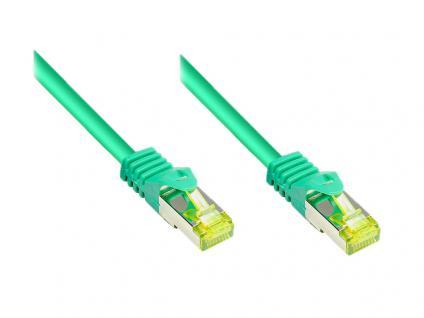 RJ45 Patchkabel mit Cat. 7 Rohkabel und Rastnasenschutz (RNS®), S/FTP, PiMF, halogenfrei, 500MHz, OFC, grün, 10m, Good Connections®