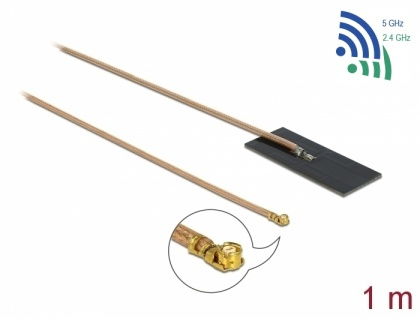 WLAN 802.11 ac/ax/a/h/b/g/n Antenne, MHF® I Stecker, 0, 5-1, 2dBi, RG-178, 1m, PCB intern, Klebemontage, Delock® [12609]