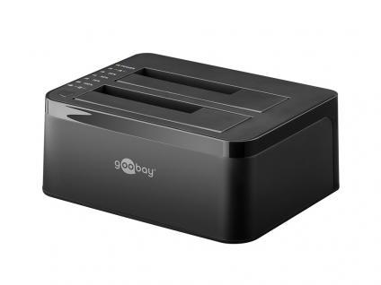 Dockingstation für DUAL SATA HDD Festplatten, USB 3.0, schwarz