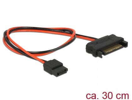 Kabel Power SATA 15 Pin Stecker an Power Slim SATA 6 Pin Buchse 30 cm, Delock® [84875]